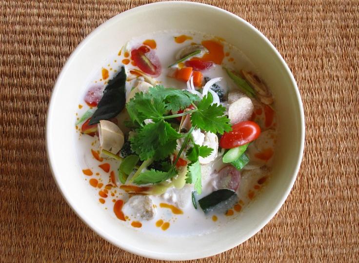 Tom Kha Pak   Coconut milk soup with assorted vegetables and chili oil  Recipe--> www.kamalaya.com/tom-kha-pak-soup.htm