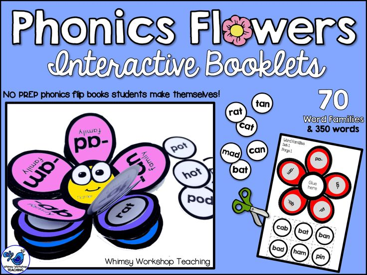 Interactive Booklets: Phonics Flowers are NO PREP for teachers! Students sort 70 word families and 350 words in this set. Makes a great home practice or bulletin board display! $ Whimsy Workshop Teaching
