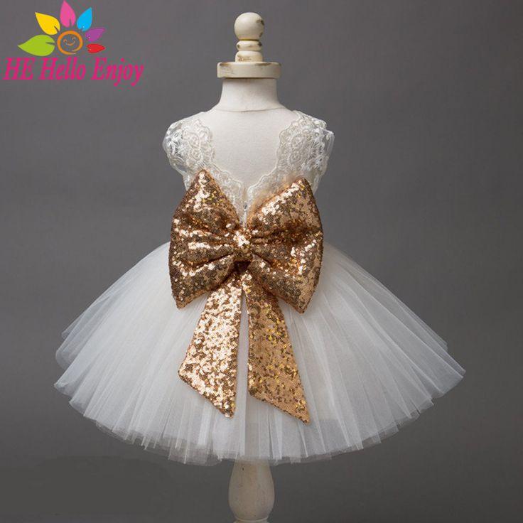 Baby jurken meisje doop pasgeboren meisje dress witte mouwloze kant boog eerste verjaardagsfeestje prinses dress