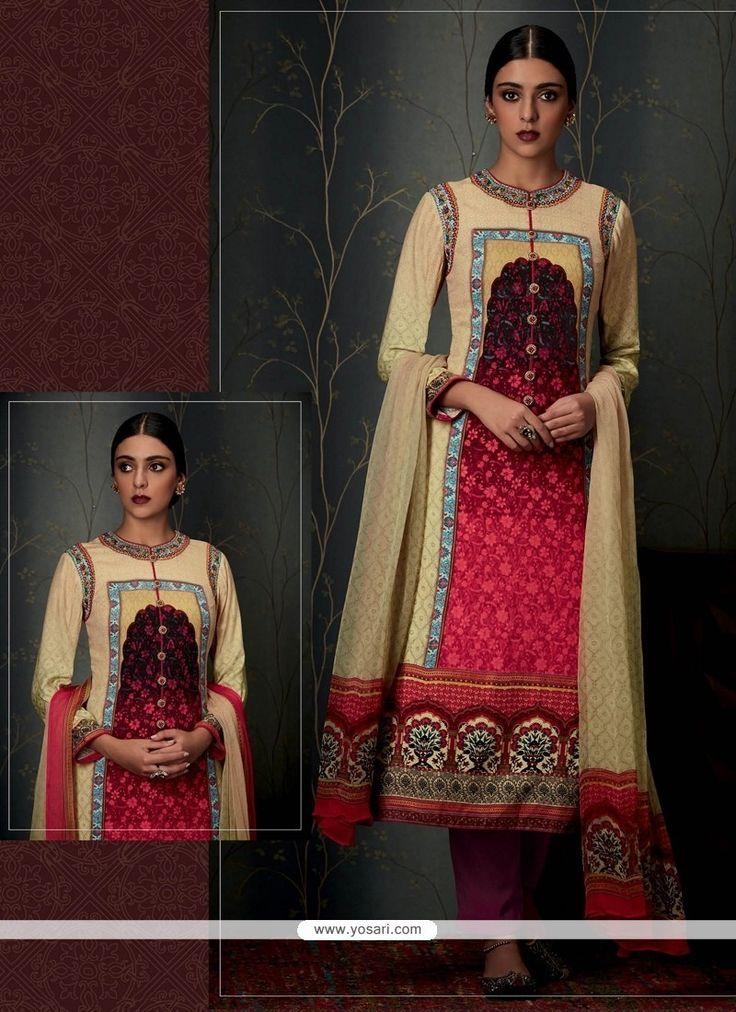 Adorning Pashmina Multi Colour Print Work Designer Straight Salwar Suit Model: YOS7962