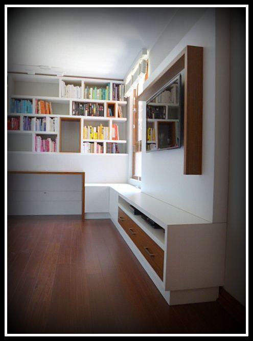Proyecto sala de estudio con Panel TV, biblioteca y escritorio
