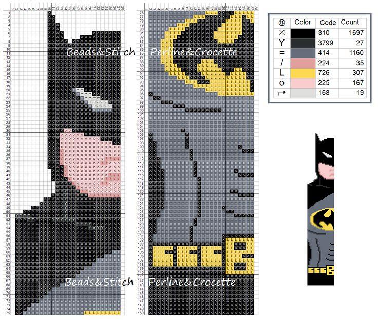 Cross stitch chart DC Batman bookmark superhero                                                                                                                                                                                 More
