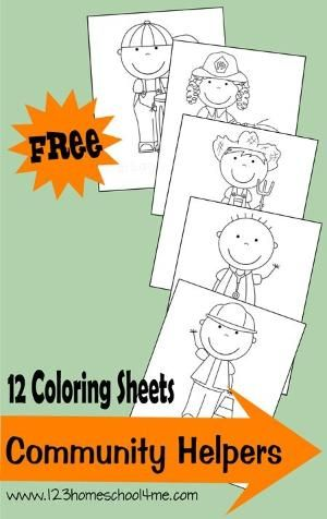 {FREE} Coloring Sheets of 12 different community helpers for #toddler #preschool #kindergarten   Great for social studies expanding horizons...