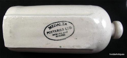 MEDALTA Advertising ALBERTA Medicine Potteries Water Bed Foot Warmer Stoneware