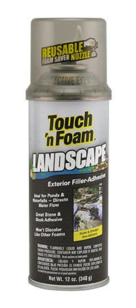 Touch 'n Foam Landscape Filler-Adhesive is a black colored foam formulated to retain its dispensed color and blend naturally into the surrounding landscape, even when exposed to direct sunlight. It bonds quickly to porous or non-porous rock, stone, cement, wood and cloth and is ideal for replacing loose mortar in rock walls. Touch 'n Foam Landscape can also be used to direct water flow in pond or waterfall applications and it's safe for use around fish or plants.