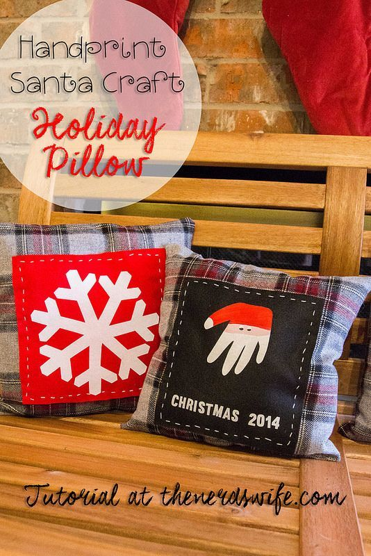 Santa Handprint Craft Holiday Keepsake Pillow -- remember how small your child was for years to come! Makes a fun handmade holiday gift, too.