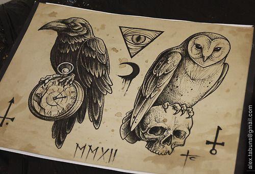 I want both of these! raven owl tattoo flash tattoo art dot work alex tabuns Tabuns