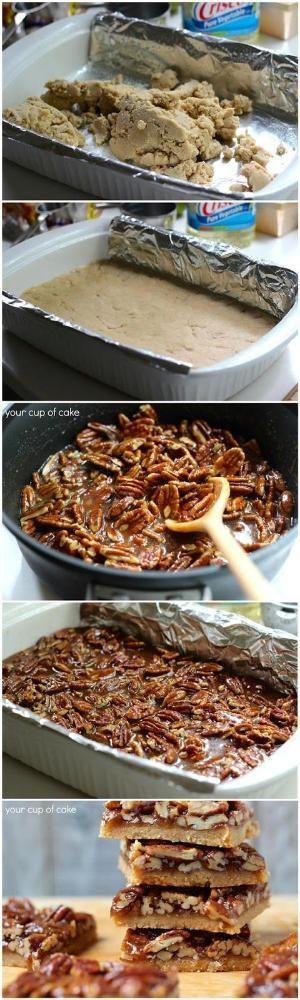 Pecan Pie Bars. Crust: 1 C. butter 2/3 C. brown sugar 2 2/3 C. flour 1/2 tsp. salt 1/4 tsp. cinnamon Pecan Topping: 1/2 C, butter 1 C. brown sugar 1/3 C. honey 2 Tbsp. heavy cream 2 1/2 C. pecans, roughly chopped 2 tsp. vanilla extract by shawna