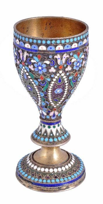 A Russian silver gilt and cloisonne enamel goblet.