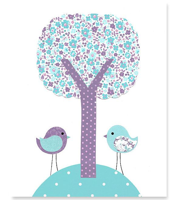 Hey, I found this really awesome Etsy listing at https://www.etsy.com/listing/185123125/bird-nursery-wall-art-aqua-and-purple