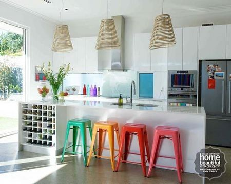 Love the use of colour, especially the stools