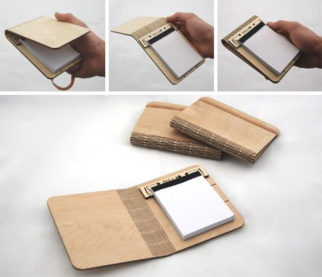 it's a notebook made of wood, see the detail here http://dornob.com/hyper-flexible-wood-notepads-bend-the-rules-of-materials/