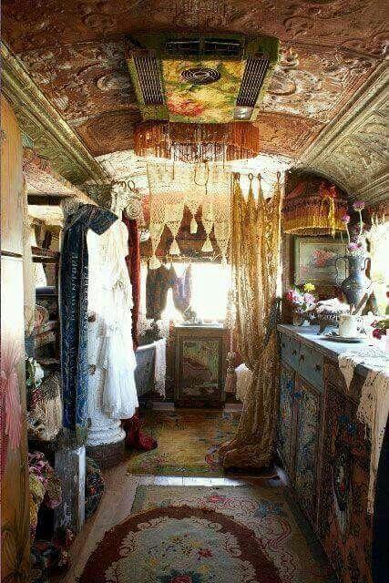 ☮ American Hippie Bohéme Boho Lifestyle ☮  Remodeled school bus gypsy caravan