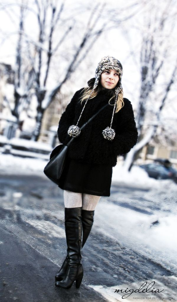 Faux fur and over-the-knee boots - migdelia.com
