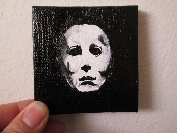 Acrylic Painting on Canvas, Michael Myers, Tiny Canvas painting, Michael Myers mask, Horror Villain,Miniature Canvas Painting, Handmade Art
