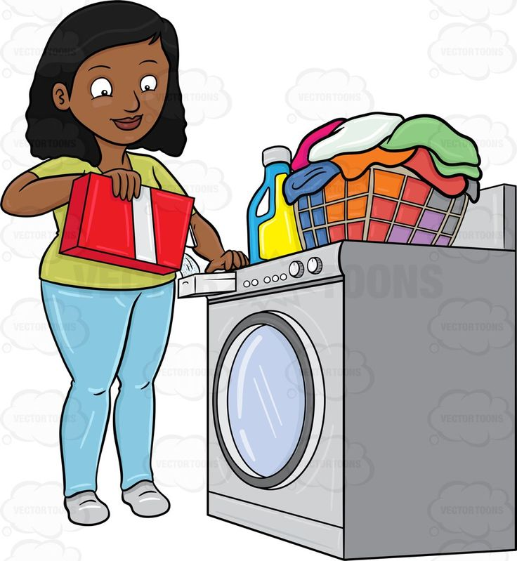 Washer And Dryer Clipart a black woman adding a good measure of detergent powder to her