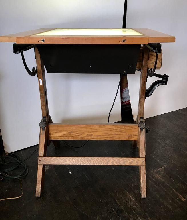Rare Hamilton Lightbox Drafting Table And Drawer Cast Iron And Oak For Sale 1 Drafting Table Table Plans Light Box