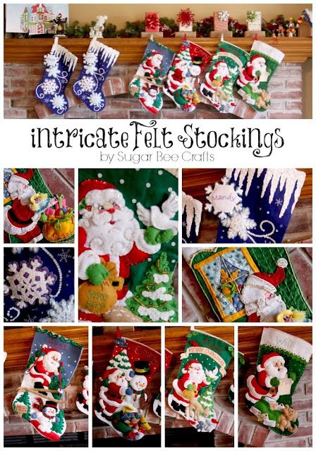 Intricate Felt Stockings - Sugar Bee Crafts - bucilla brand felt stocking kits in action