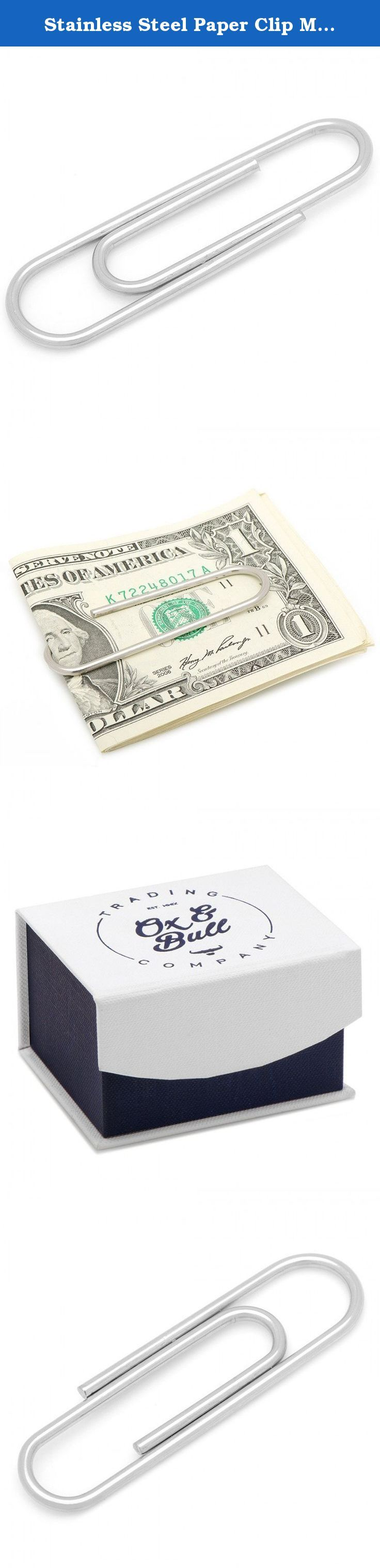 """Stainless Steel Paper Clip Money Clip. Approximately 2"""" x 1/2"""" Stainless steel money clip ."""