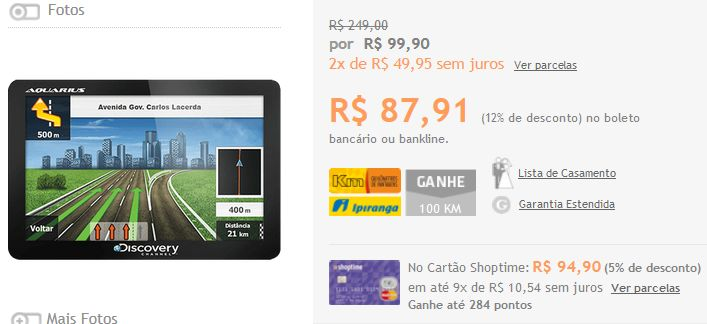 """GPS Automotivo Aquarius Discovery Channel 4.3"""" Slim Touch Screen << R$ 8791 >>"""