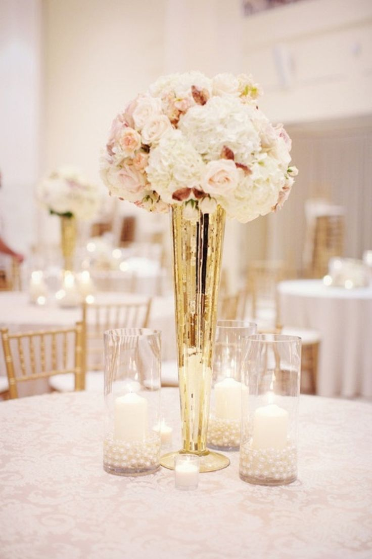 Tall Mercury Glass Centerpieces Vintage Peony Wedding