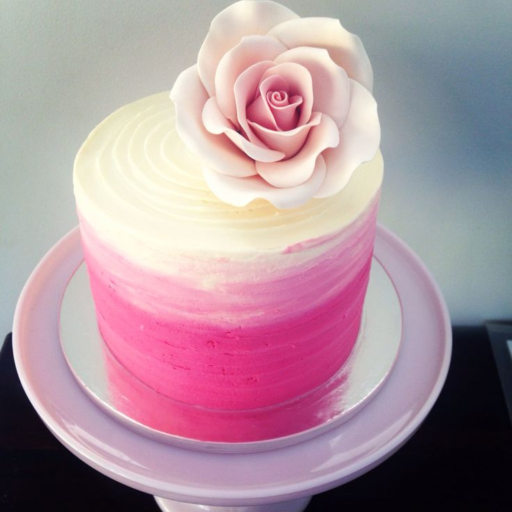 Pink Ombre Baby Shower Cake by #OldSchoolTeaLady