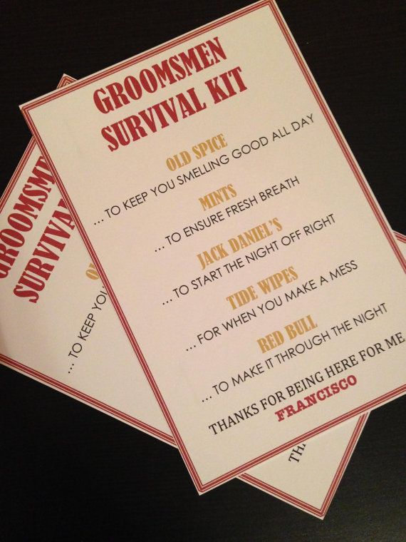 Groomsmen Survival Kit  5x7  Postcard  Hard by NiftyNeatThings, $1.00