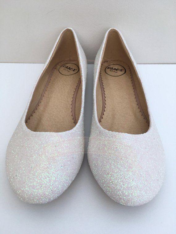 White glitter flats White ballet flats