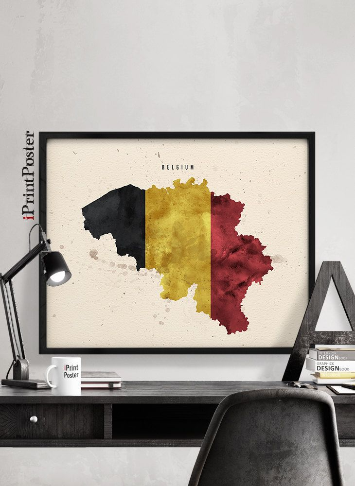 Belgium flag map poster, Belgium map flag watercolour print, Art print, Wall art, Travel, Wall decor, Office art, Home Decor, iPrintPoster by iPrintPoster on Etsy