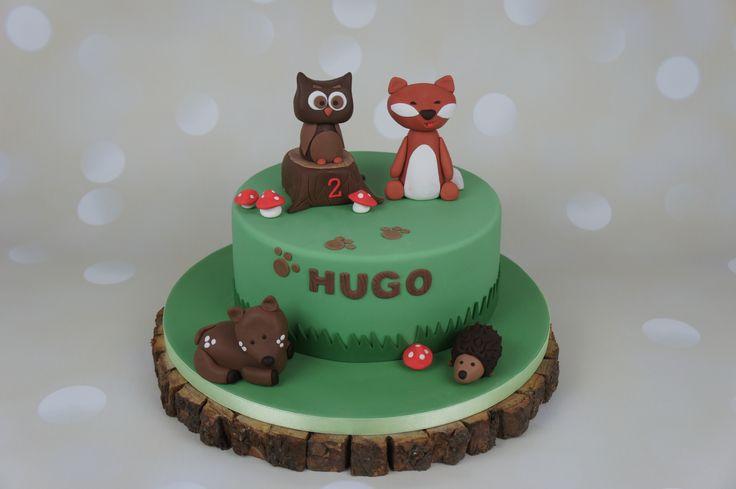 Forest animals cake, Owl, Fox, Deer, Hedgehog characters