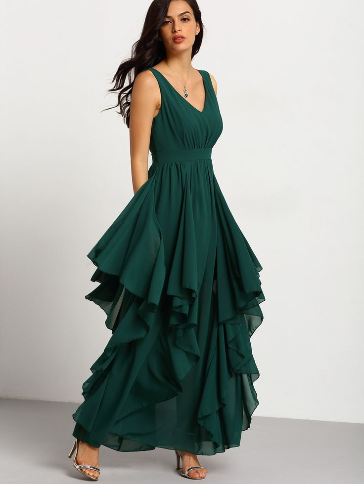 Green Deep V Neck Maxi Chiffon Dress