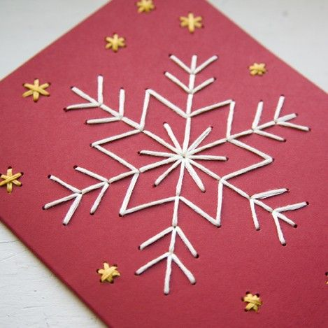 HOLIDAY DIY Snowflake Card Embroidery Kit  four by MiniatureRhino