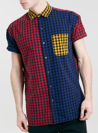 Red Mix Gingham longer length Short Sleeve Shirt.