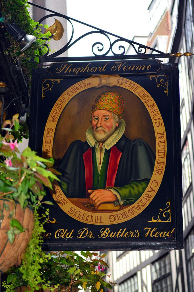 Sign of public house named after William Butler (1535–1617),  court physician to James I, medical empiricist and serious drinker. In Masons' Avenue, the narrow street where the Masons' Livery Company had its hall from 1463 to 1865. City of London.  (CC BY-NC-SA 2.0)