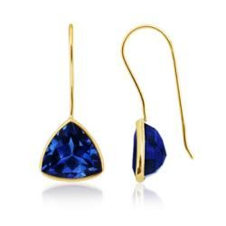 Shop for Angara 10mm Lab Created Trillion Blue Sapphire Fish-Hook Earrings in 14K Yellow Gold. Get free delivery at Overstock.com - Your Online Jewelry Destination! Get 5% in rewards with Club O!