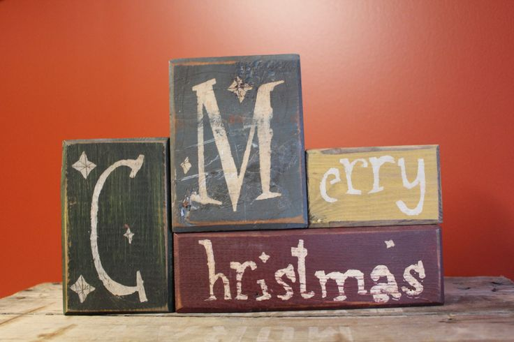 Primitive Merry Christmas blocks made by: The Primitive Shed