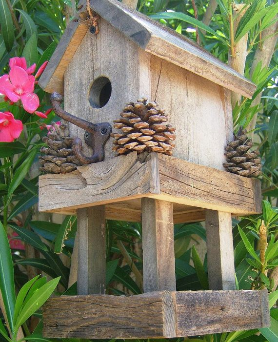 Rustic birdhouse/feeder. I love it!