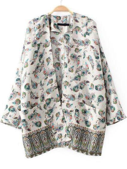 White Long Sleeve Tribal Print Pockets Outerwear - Sheinside.com