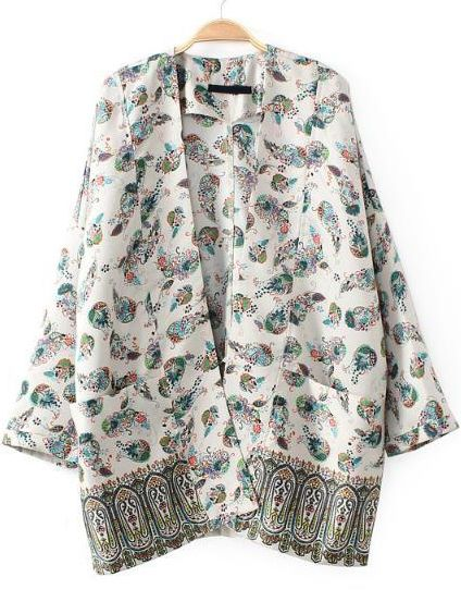 White Long Sleeve Tribal Print Pockets Outerwear - Sheinside.com