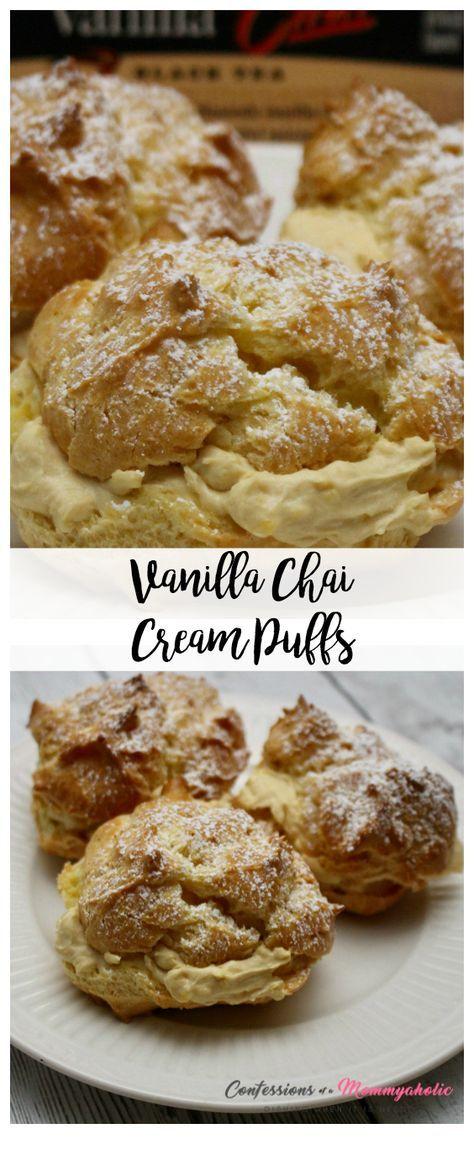 Vanilla Chai Cream Puffs Hero Shot These are made with Bigelow Vanilla Chai Tea @janinehuldie See Recipe Here: http://www.janinehuldie.com/2017/02/bigelow-vanilla-chai-cream-puffs-recipe/