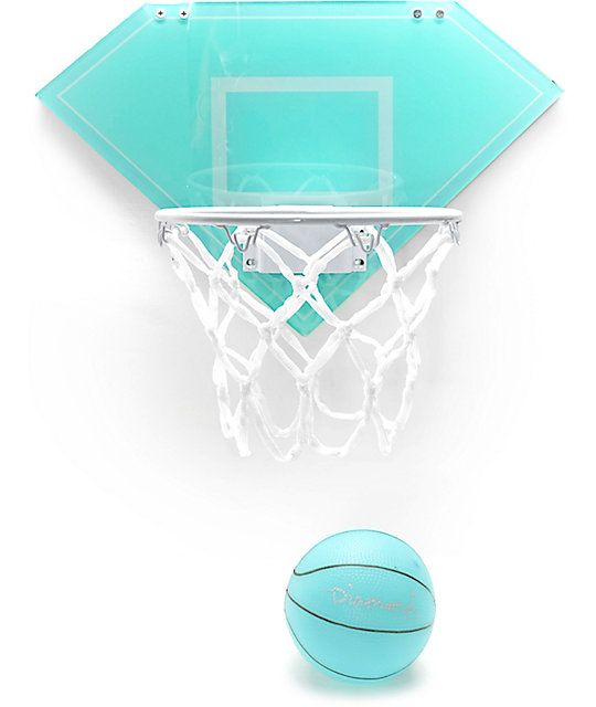 Keep your hoop skills top notch while indoors with this basketball hoop from Diamond Supply Co. The iconic diamond blue backboard with contrasting white net and matching diamond blue rubber ball will not only liven up the aesthetic of any room but also ke