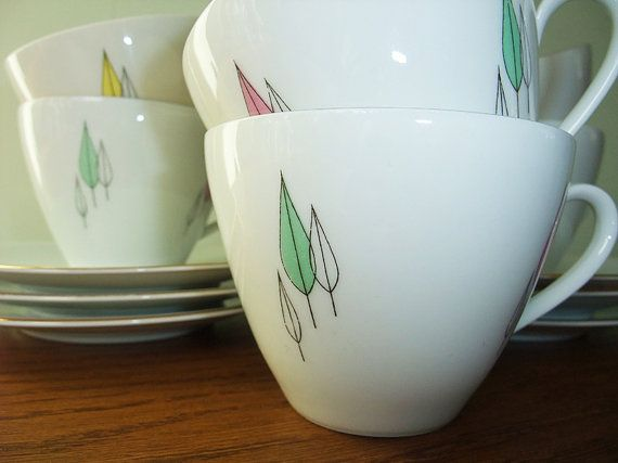 Set of 6 Cups and saucers for tea or coffee fifties by StigsRetro