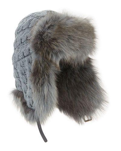 D0ZTP Inverni Cashmere Cable Trapper Hat w/Fur Trim
