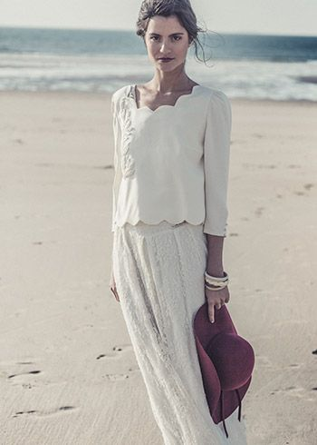 Two piece wedding dress with an oh so French look from Laure de Sagazan