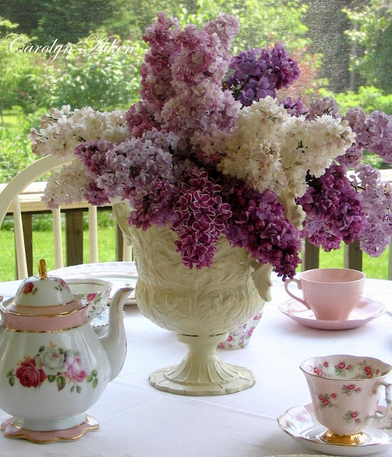 Lilacs and tea!!! two of my simple pleasures!!!!!