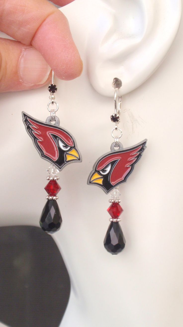 Arizona Cardinals Earrings, AZ Cards Bling, Red Black and Clear Crystal…