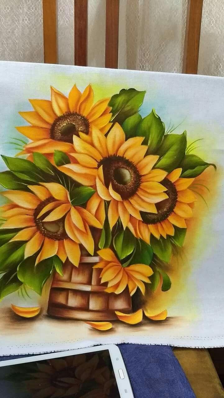 Pin de Jenny Contreras em Girasoles | Pintura de girassol ...