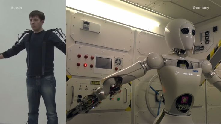 When someone in the exoskeleton moves their hand in Russia, the robot moves its hand in Germany.