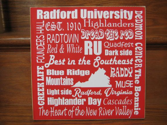 RU, Radford University sign, Radford Highlander sign, Graduation gift, Subway art, Christmas gift