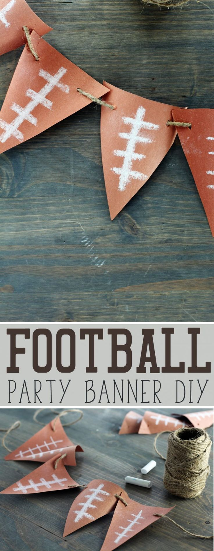 Fast + Easy Football Banner DIY - make this simply cute football banner in just a few minutes. Perfect for football parties. #footballbanner